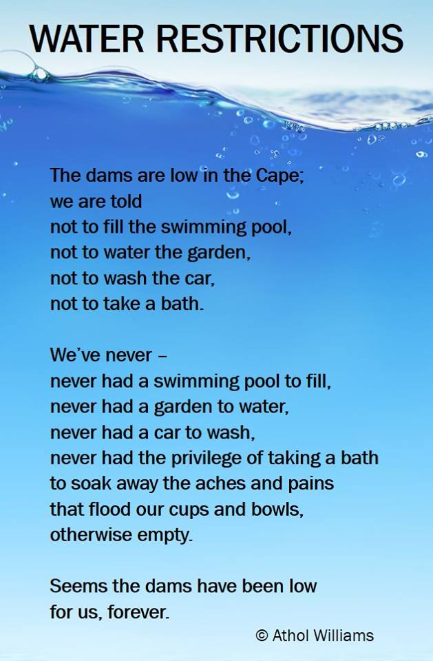 'Water Restrictions', a poem by Athol Williams (www.atholwilliams.com)