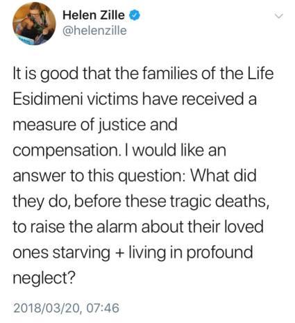 Premier Helen Zille's tweet on Life Esidimeni rulings